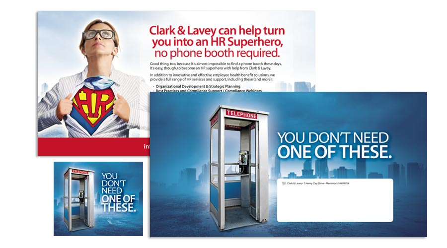 Direct mailer and web ad for Clark & Lavey