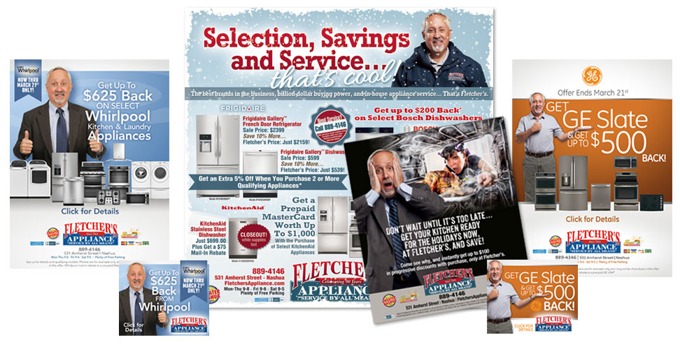 Print and web ads for Fletcher's Appliance