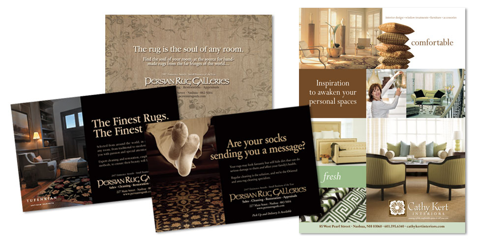 Magazine ads for Persian Rug Galleries and Cathy Kert Interiors