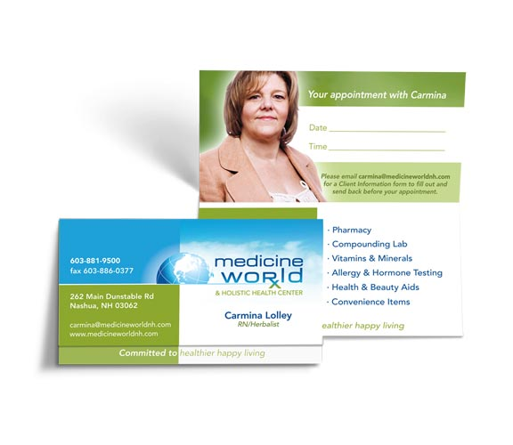 Business card for Carmina at Medicine World