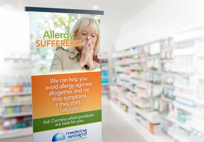 in-store display sign for Medicine Worldr