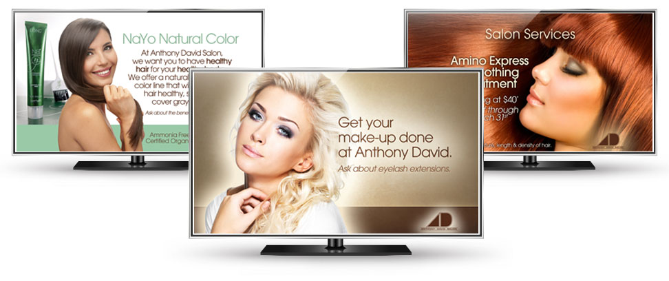 Digital signs point of sale marketing tracy wampler design for A david anthony salon