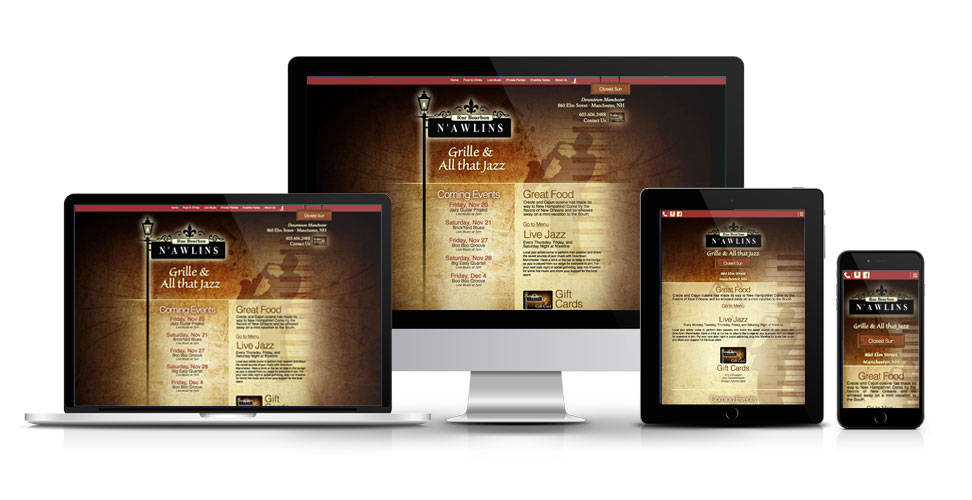 Responsive website for N'awlins Grille