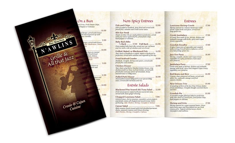 Menu for N'awlins Grille