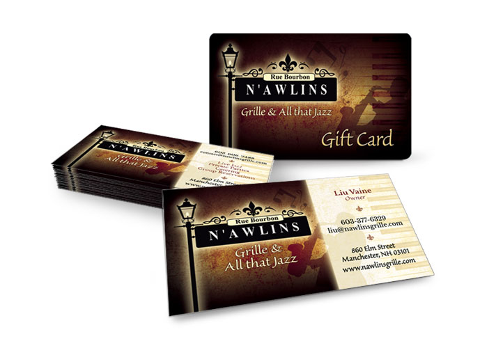 Business and gift cards for N'awlins Grille